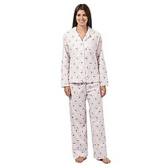 Lounge & Sleep - Pink dog print flannel pyjama set