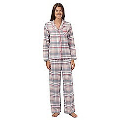 Lounge & Sleep - Pale pink checked flannel pyjama set