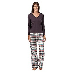 Lounge & Sleep - Brown jersey top and checked bottoms pyjama set