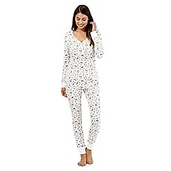 Lounge & Sleep - Cream robin printed waffle pyjama set