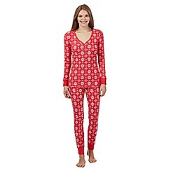 Lounge & Sleep - Red Fair Isle top and bottoms pyjama set
