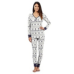 Lounge & Sleep - Grey polar bear printed waffle pyjama set