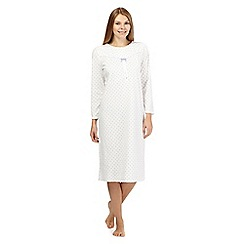 Lounge & Sleep - White spotted fleece nightdress