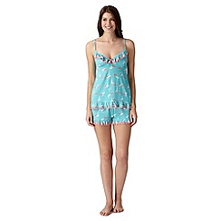 Floozie by Frost French - Turquoise lace flamingo cami and shorts pyjama set