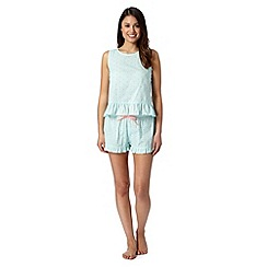Floozie by Frost French - Light turquoise spotted cotton vest and shorts pyjama set