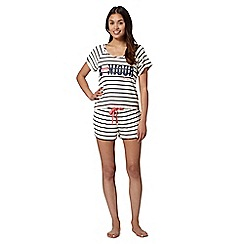 Floozie by Frost French - Cream striped pyjama top and shorts set