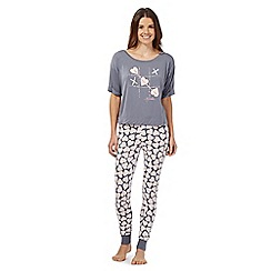 Floozie by Frost French - Dark grey heart top and bottoms pyjama set