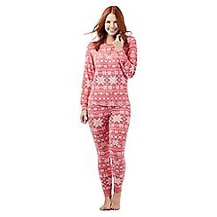 Iris & Edie - Dark pink snowflake cuffed pyjamas