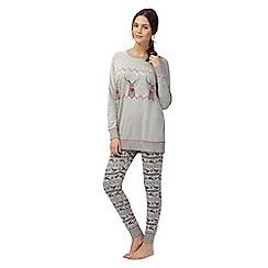 Iris & Edie - Grey pom pom reindeer pyjama set