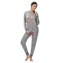 Iris & Edie - Grey 'Lazy Bones' snowflake pyjama set