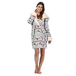 Iris & Edie - Grey stag print faux fur trimmed dressing gown