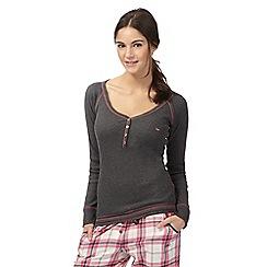 Iris & Edie - Dark grey ribbed long sleeved pyjama top
