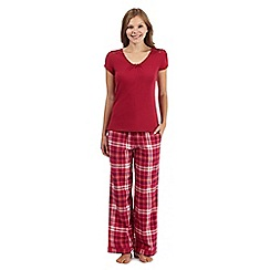 RJR.John Rocha - Red lace top and checked bottoms pyjama set