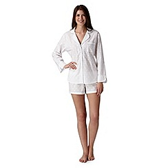 J by Jasper Conran - Designer white revere spot pyjama shirt and short set