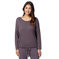 J by Jasper Conran - Designer chocolate long sleeved pyjama top