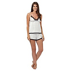 J by Jasper Conran - Ivory spotted line satin camisole and shorts set