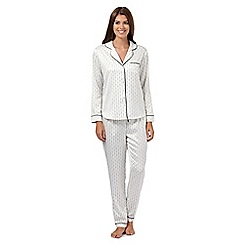 J by Jasper Conran - Ivory spotted line satin pyjama set