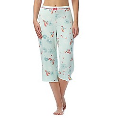Gorgeous DD+ - Light green bird print cropped pyjama bottoms