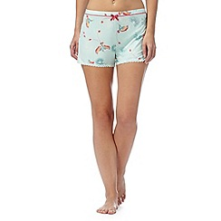 Gorgeous DD+ - Light green bird print pyjama shorts