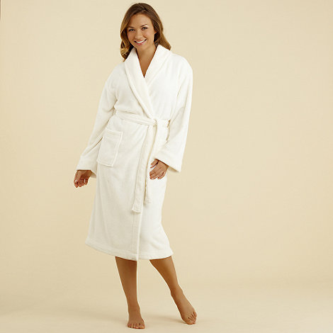 Lounge & Sleep - Cream fleece dressing gown