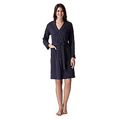 Lounge & Sleep - Navy spotted jersey dressing gown