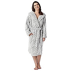 Lounge & Sleep - Grey hooded leopard print dressing gown
