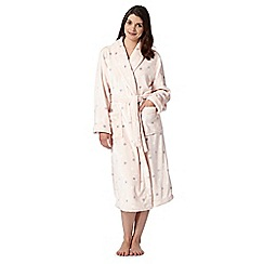 Presence - Light pink spotty fleece dressing gown