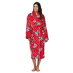 Lounge & Sleep - Red rose fleece dressing gown
