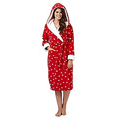 Lounge & Sleep - Red polka dot hooded dressing gown