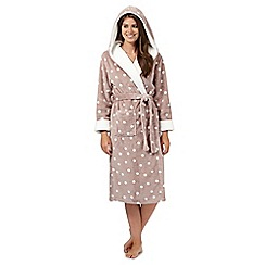 Lounge & Sleep - Taupe polka dot hooded dressing gown