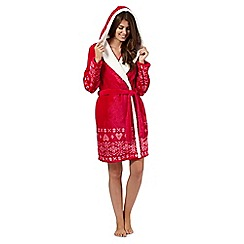 Lounge & Sleep - Red fairisle cross stitch print hooded dressing gown