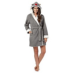 Lounge & Sleep - Grey 'Rudolph' novelty hood dressing gown