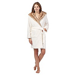 Presence - Cream hooded faux fur robe