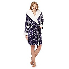 Lounge & Sleep - Navy snowflake printed fleece dressing gown