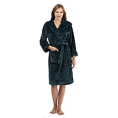 J by Jasper Conran - Dark green hooded faux fur dressing gown