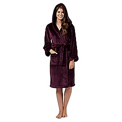 J by Jasper Conran - Dark purple luxury hooded dressing gown