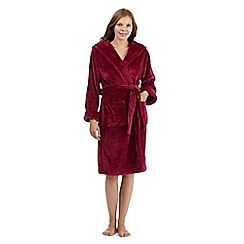 J by Jasper Conran - Dark pink hooded faux fur dressing gown