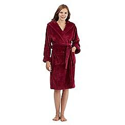 J by Jasper Conran - Dark pink hooded faux fur dressing gown