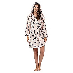 Presence - Pink heart print hooded dressing gown
