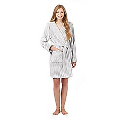 Lounge & Sleep - Grey zig zag fleece dressing gown