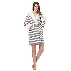 Iris & Edie - Grey stripe sherpa hooded robe