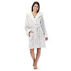 RJR.John Rocha - Designer taupe fleece hooded dressing gown