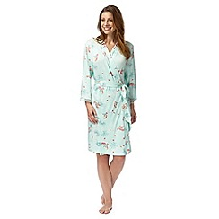 Gorgeous DD+ - Light green bird print dressing gown