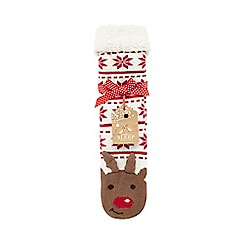 Lounge & Sleep - Cream Rudolph slipper socks