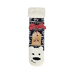 Lounge & Sleep - Navy polar bear slipper socks