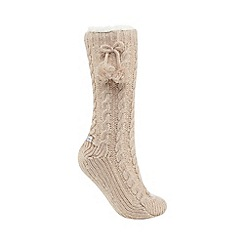 Lounge & Sleep - Light pink cable socks