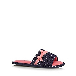 Lounge & Sleep - Navy spotted bow mule slippers