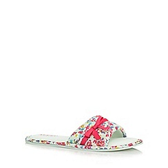 Lounge & Sleep - Pale green floral mule slippers