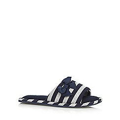 Lounge & Sleep - Navy striped open toe mule slippers