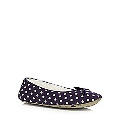 Lounge & Sleep - Dark purple polka dot ballet slippers